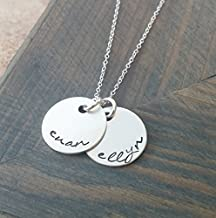Hand Stamped Jewelry // Personalized Necklace // Necklace with Kids Names // Sterling Silver Disc Necklace