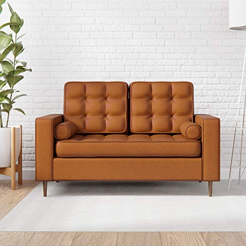 Everlane Home Lynnwood Upholstered Loveseat with Square Arms and Tufting-Bolster Throw Pillows Included, Faux Camel
