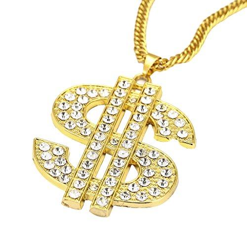 FITYLE Iced out Crystal Signo De Dólar Dinero Colgante Hip Hop Collar Cadena Cubana - Estilo 3 (Forma dólar)