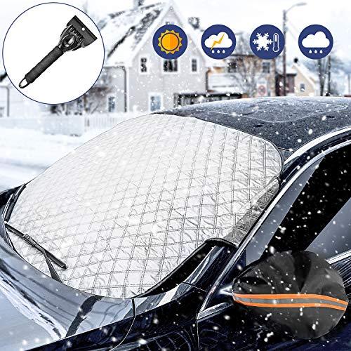 WisFox Parabrisas del Coche Cubierta de Nieve Parabrisas Protector de Pantalla Solar Cubierta de Polvo UV Cubierta de Hielo congelado Mantenga el Coche Fresco en Todos los climas