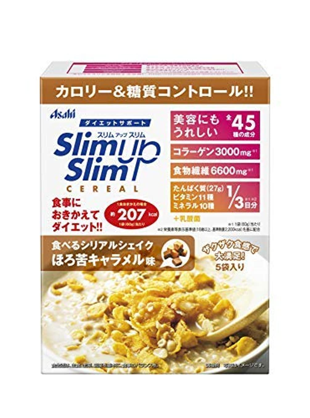 毛細血管楽しい苗アサヒグループ食品 スリムアップスリム 食べるシリアルシェイク ほろ苦キャラメル味 60g×5袋入 × 6個セット