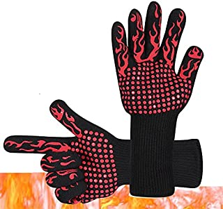 BBQ Grilling Gloves, SUNJULY 2PCS Silicone Cooking Hot Gloves Heat Resistant Non-slip for Barbecue Kitchen Oven Microwave Oven, Red