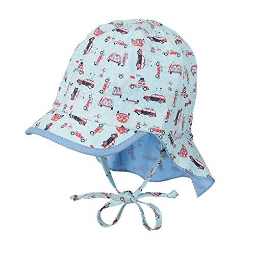 Sterntaler Schirmmütze für Jungen mit Bindebändern, Nackenschutz und Auto-Motiv, Alter: 9-12 Monate, Größe: 47, Türkis