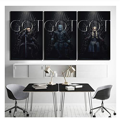 Suuyar Game of Thrones Filmplakat Gemälde Leinwand Fantasy Art HD Bilder Kunst dekorative Gemälde für Wall Decor-50x75cmx3 No Frame