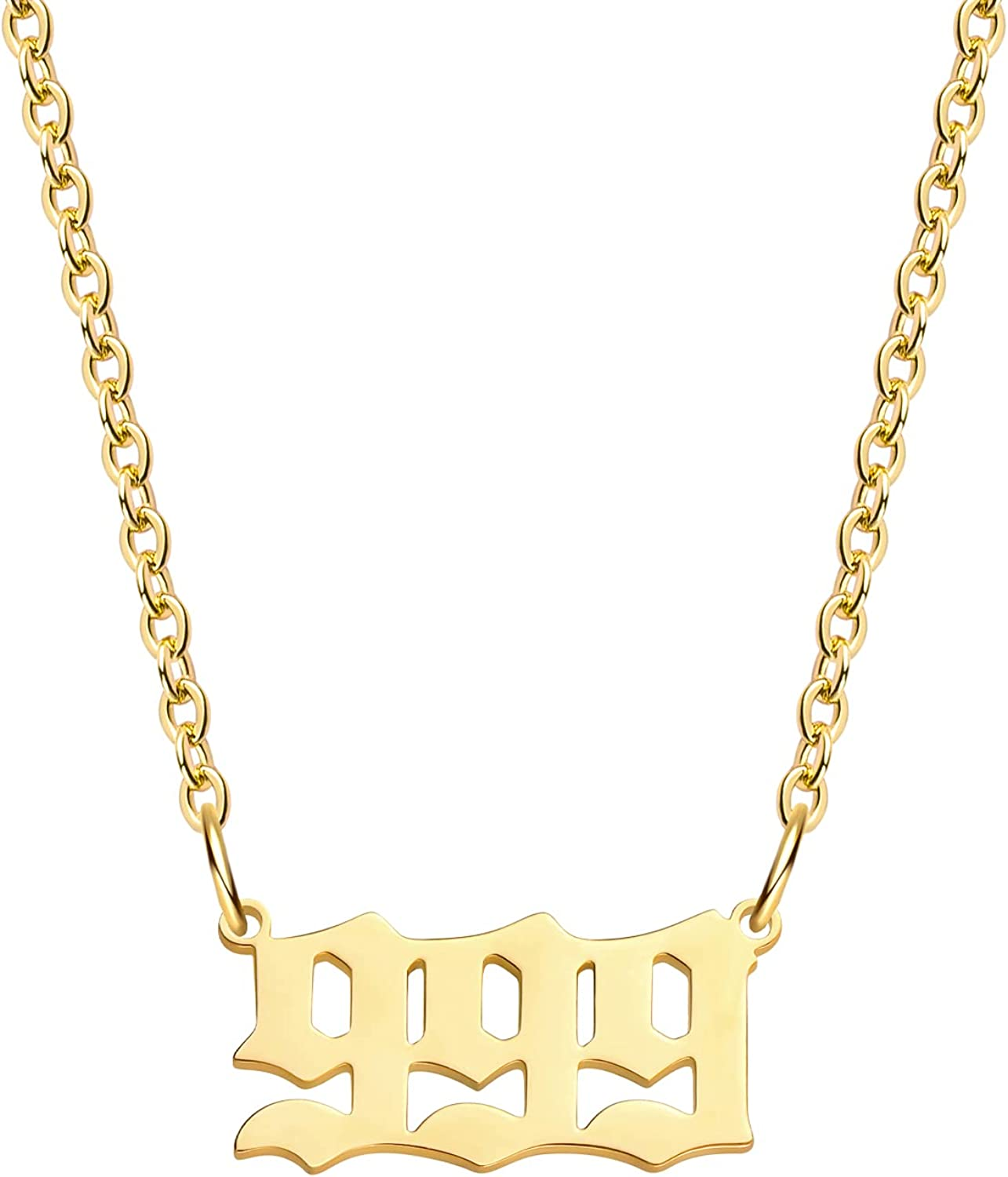 Angel Number Necklace for Women, Lucky Number Necklace Gold Plated Dainty 111 222 333 444 555 666 777 888 999 Pendants Choker Chain Numerology Jewelry