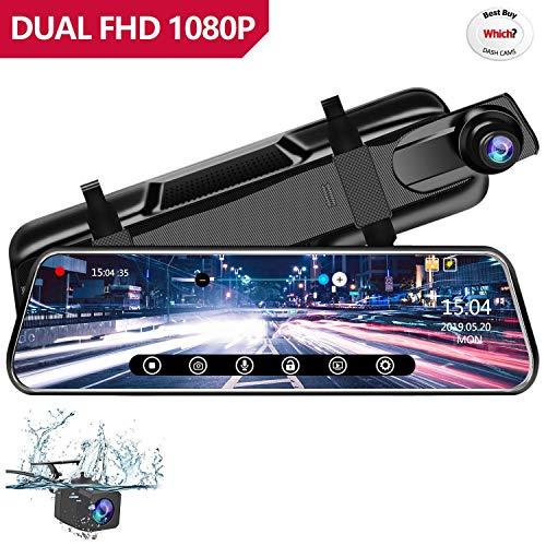 """Anstar Cámara de Coche 1080P Pantalla Táctil Dash CAM LCD de 10"""" con 170° Gran Ángulo Espejo Retrovisor CAM con cámara Delantera y Trasera, G-Sensor, Grabación en Bucle y Detección de Movimiento"""