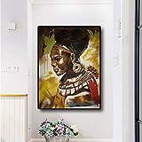 hetingyue Indische Indigene Porträt Ölgemälde Poster und Druck auf Leinwand Skandinavische Pop-Art Wohnzimmer Bild rahmenlose Malerei 45x60cm