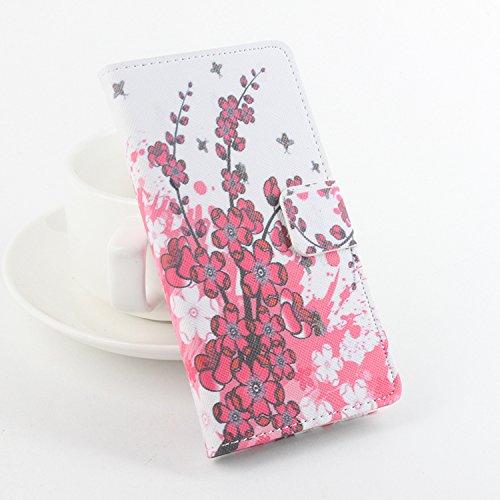 Easbuy Bunt Pu Leder Kunstleder Flip Cover Tasche Handyhülle Hülle Case Handytasche Schutzhülle Etui für Homtom HT5