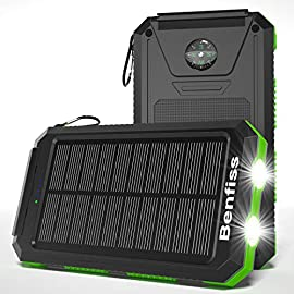 Solar Charger 20000mAh, BENFISS Ultra-Portable Durable Solar Power Bank with 2 USB Output 2 LED Flashlight and Compass, Waterproof Solar Cell Phone Charger for Outdoor Activities/Emergency (Green) 6 <p>Ultra-Compact Portable Charger --Built-in high-quality lithium polymer battery, that will not explode, is durable, can be recharged more than 1000 times, newly upgraded batteries, effectively reduces power loss during charging; solar cell phone charger compatible with all 5v USB device. USB Input & Solar Charging --Benfiss Portable Phone Charger with two charging methods, 5V/1.6A Micro USB Input, enables it to fully charge itself in around 6-8 hours. Upgraded Solar panel, 5V/200mA/hours, for the outdoors in emergency situations. It is highly recommended that you fully charge via adapter before taking a trip. 2 USB Output and 2 LED Flashlight --Built-in 5V/1A and 5V/2.1A USB Outputs, share power with your partners. Smart IC output ports keep your devices from overcharging, over-current, over-voltage, and short circuits. Emergency LED Flashlights: 3 modes, Normal, Strobe and SOS. It's helpful in the dark and is a lifesaver in emergencies. Ultra Durable External Battery Backup -- Made of eco-friendly silicone rubber and ABS + PC material. Rugged USB port construction is well protected by plastic caps which protects the battery from dust, rain, and damage. With the free carabiner included, you can easily hang it on a backpack, ideal for outdoor activities such as camping, hiking, traveling. Policy for Benfiss Solar Charger --Our belief is that quality speaks louder than anything! Our vision is to offer our customers an energy-efficient life! The Solar Charger provides a 12-month warranty and lifetime technical support, 24h online after-sales service. Any problems please feel free to contact us first.</p>