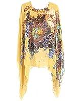 Uplife Women's Loose Batwing Sleeve Tops Flower Bohemian Chiffon Blouse T Shirt Tops (One Size, Yellow)