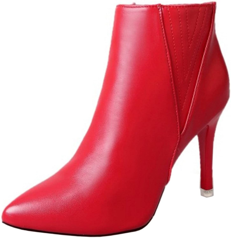 FizaiZifai Women Classics Stilleto Short Boots Zip Solid Round Toe shoes