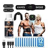 kames skoss prestige - Appareil electrostimulation Musculaire, electrostimulateur pour Hommes et Femmes, avec écran LCD et Recharge USB + Cuisses + Jambes, Massage Musculaire, Trainer fessier (White)