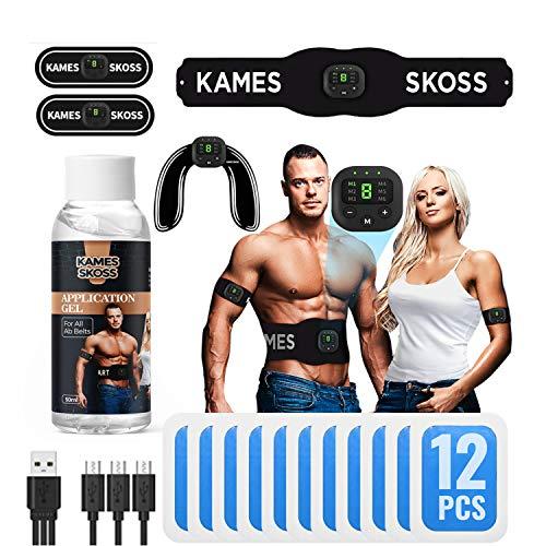 kames skoss prestige - Ceinture de Force, Appareil electrostimulation Musculaire, pour Hommes et Femmes, avec écran LCD et Recharge USB + Jambes, Massage Musculaire, Trainer fessier (White)