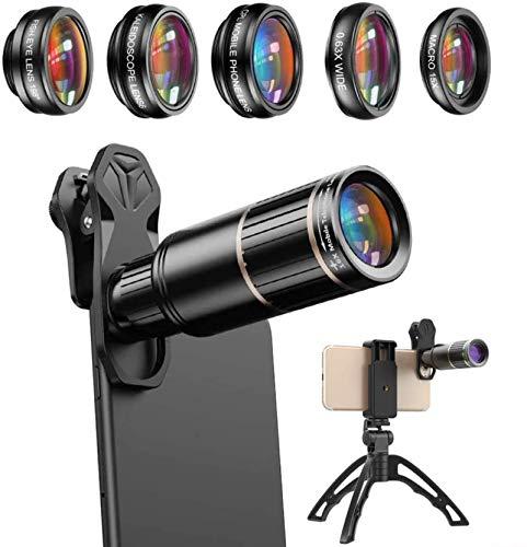 MWKLW Lente de cámara de teléfono, Kit de Lentes de teléfono Celular 6 en 1, Lente de Zoom telefoto 16X de Metal/Gran Angular/Macro/Ojo de pez/caleidoscopio/CPL, iPhone/Samsung/teléfono inteli