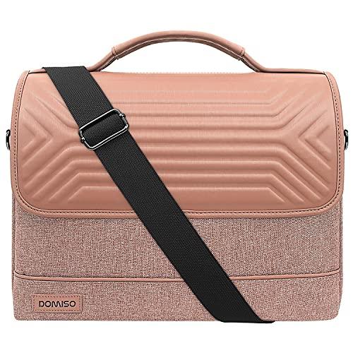 DOMISO 17 Inch Waterproof Laptop Bag Briefcase Shoulder Bag Business Bag for 17-17.3 Inch Notebook/Dell/Lenovo/Acer/HP/MSI/ASUS, Pink