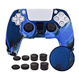 Skin for PS5 Controller Grips,Pandaren Texture Pattern Cover for Playstation 5 Controller Sweat-Proof Anti-Slip Silicone Cover Hand Grip with 8pcs FPS Pro Thumbsticks Cap Protector(Camouflage Blue)