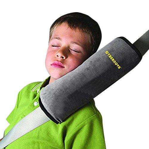 CYBERNOVA arresto per cintura auto, ideale come cuscino supporto per la testa,sicurezza in auto per bambini cuscino spalla cuscino cintura(grigio)