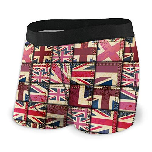 Tyueu Calzoncillo Vintage Londres con protección de Bandera Inglesa Calzoncillos Cortos Ropa Interior Ligero Boxer para Hombres
