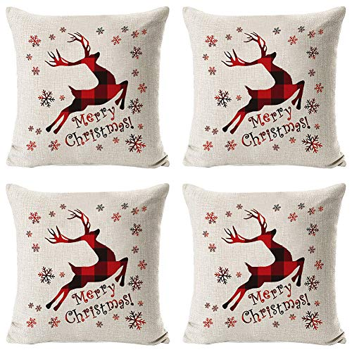 HYISHION Christmas Throw Pillow Covers Cotton Line Cushion Covers Rustic Christmas Decorations Throw Pillow Case for Couch Sofa,4pcs,18 * 18in