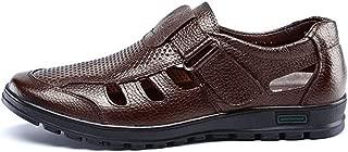 Hombres pies Cerrados Sandalias de Verano de Cuero Hollow Zapatos de Negocios al Aire Libre Casual Zapatillas Slip on Flats