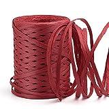 KAMAIKA Raffia - Rollo de cinta de papel de rafia (100 m), color rojo