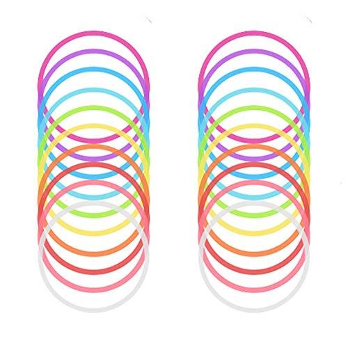 Knowing Neon Armbänder, 20 Stück Neon Gummi Armbänder, Farbig Gummi Silikon Armreifen, für Mädchen, Frauen Alltagsparty Partykonzert und Kostümzubehör (10 Farben)