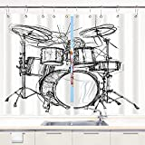 VINISATH Kitchen Curtain,a Drummer Music,Kitchen Window Curtains Window Treatment Panels Sets Drapes Metal Hooks Included 55x39Inches 2 Panels Set