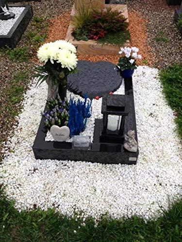 Stone & More Urnengrab Grabstein Granit Schwedisch Schwarz Grabeinfassung 80cm x 60cm und Grabstein Herz 30cm x 30cm x 6cm inklusive Gravur