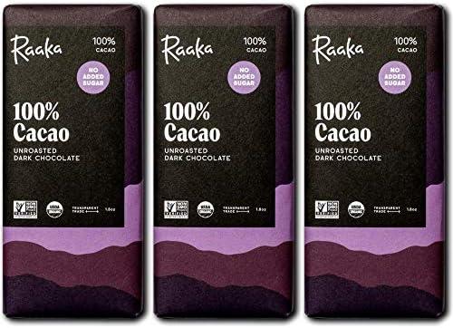 Raaka Chocolate 100 Cacao Sugar Free Gourmet Bean to Bar Dark Chocolate Organic Kosher Vegan product image