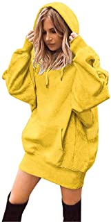 Shusuen ✥ Women Fashion Solid Color Clothes Loose Hoodies Drawstring Pullover Coat Sweatshirt with Pocket
