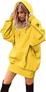 WOCACHI Tunic Hoodies for Womens, Solid Color Cat Print Front Pocket Drawstring Collar Hooded Sweatshirt Pullover