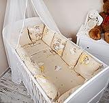 Amilian® Baby Nestchen Bettumrandung 420 cm Design:Bär auf der Leiter Ecru Bettnestchen Kantenschutz Kopfschutz für Babybett Bettausstattung