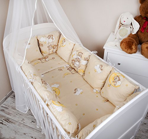 Parure de lit bébé design : Ours Sur l'échelle Ecru Lot de 100 x 135 pour lit bébé tour de lit couverture coussin Tour de lit