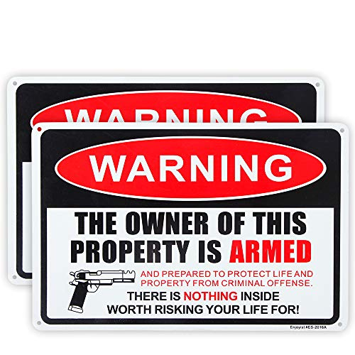 Enjoyist 2 Pack Gun Sign, The Owner of This Property is Armed Sign, 12'x 8' .04' Aluminum Sign Rust Free Aluminum-UV Protected and Weatherproof