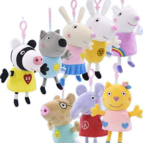 Peluche 8 Unids/Set 19 Cm Lindo Peppa Pig Juguetes De Peluche Paquete Familiar Muñeco De Peluche Pelucia Regalos Para Niños Dani Dog Suxi Sheep Richard Rabbit