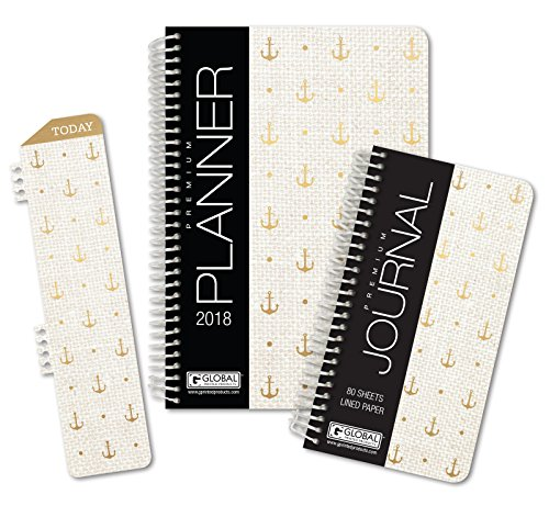 "HARDCOVER Fashion Daily Planner Set - Includes 14 Month 2017 Calendar Year (5.5"" x 8"") with Monthly Tabs -- Bonus Clip-in Bookmark -- 3.5"" x 6.5"" Bonus Journal [Gold Anchors]"