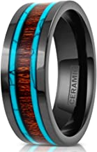 Elegant Hi-Tech 6mm/8mm Gunmetal Black Flat Ceramic Band Style Ring w/Koa Wood Inlay Between 2 Blue Turquoise Inlays.