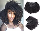 Ms Fenda Afro Kinky Curly 4B 4C Clip In Hair Extensions Brazilian Remy Virgin Hair Natural Color 120Gram 7Pcs/Set (16', Afro Kinky Curly)
