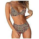 Bikini para mujer de cintura alta, traje de baño de dos piezas, sujetador deportivo y parte superior de bikini, traje de baño