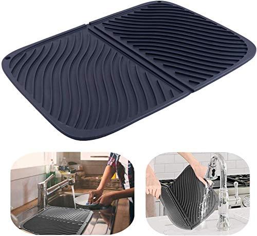 Stuoia per asciugare i piatti in silicone, grande stuoia drenante, stuoia per vasi resistente al calore ecologica, lavello lavabile in lavastoviglie 17    X13    (nero)