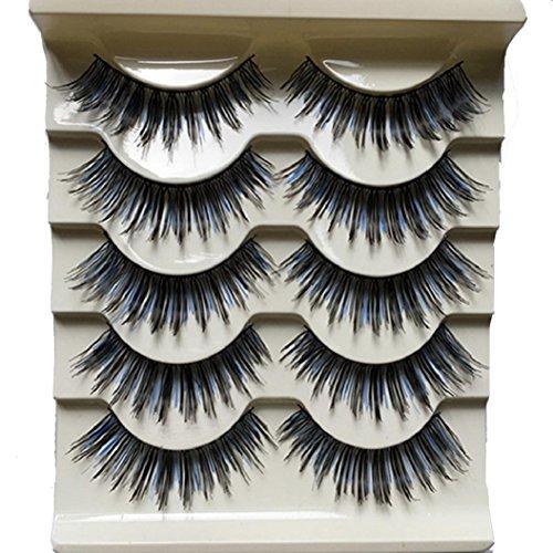 5 paires de longs ciseaux noir et bleu épais et longs Night Club Dancing Eye Lashes