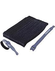Attaches de Câble Trilancer Réutilisable Fermeture en Nylon Microfibre Organisateur pour Cordes et Gestion des Câbles 20cm (Noir)