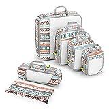 Compression Packing Cube 6-teilig, Gonex robust & langlebig | Blumen gedruckte Verpackungswürfel, Packtaschen, Kleidertasche, Koffer-Organizer, Aufbewahrungstasche - Böhmen