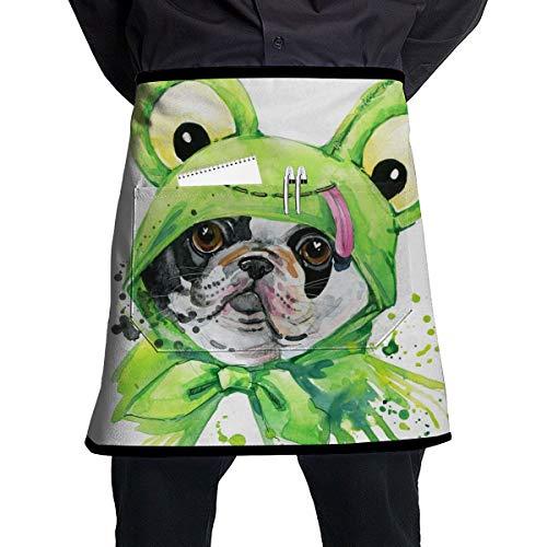 Dingl Een Puppy In Een Kikker Jas 1 Stuk Verstelbare Halflange Schort Pocket Voor Mannen En Vrouwen In Koken, Barbecue En Bakken