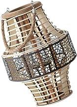 FRCOLOR Rattan Bamboo Lantern Natural Cnadle Lantern with Handle Farmhouse Vintage Candle Holder Hanging Lantern for Weddi...