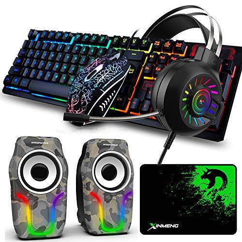 Hoopond Gaming-Tastatur Maus-Set, Maus-Pad und Gaming-Headset mit Hintergrundbeleuchtung und Camouflage-RGB-Lautsprecher,5-in-1, Regenbogen-LED-Hintergrundbeleuchtung, Gaming-Tastatur + 2400 DPI Maus