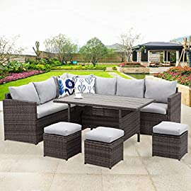 Wisteria Lane Patio Furniture Set,7 Piece Outdoor Dining Sectional Sofa Couch with Dining Table and Chair, All Weather… 1 COMFORTABLE CUSHION - This outdoor patio dining set comes with durable beige fabric, can last for longer time. Thicker resilience sponge adds extra comfort for each moment. HANDWORK MATERIAL - Made of strong galvanized steel frame and all-weather hand woven PE rattan,give you a weather resistant set that will last your for years to come EXQUISITE DESIGN - Combine the functionality of wood and iron with the comfort of wicker has a refined classic style,easier to match any preexisting decor