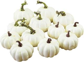 PeiQila Zucche Artificiali Mini zucche di Simulazione realistica Falsa 12pcs per la Decorazione della casa di Halloween