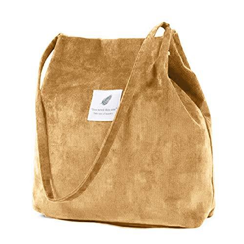 ZhengYue Handtasche Umhängetasche Damen groß Cord Tasche Damen Handtasche Shopper Damen für Uni Arbeit Mädchen Schule (Gelb)