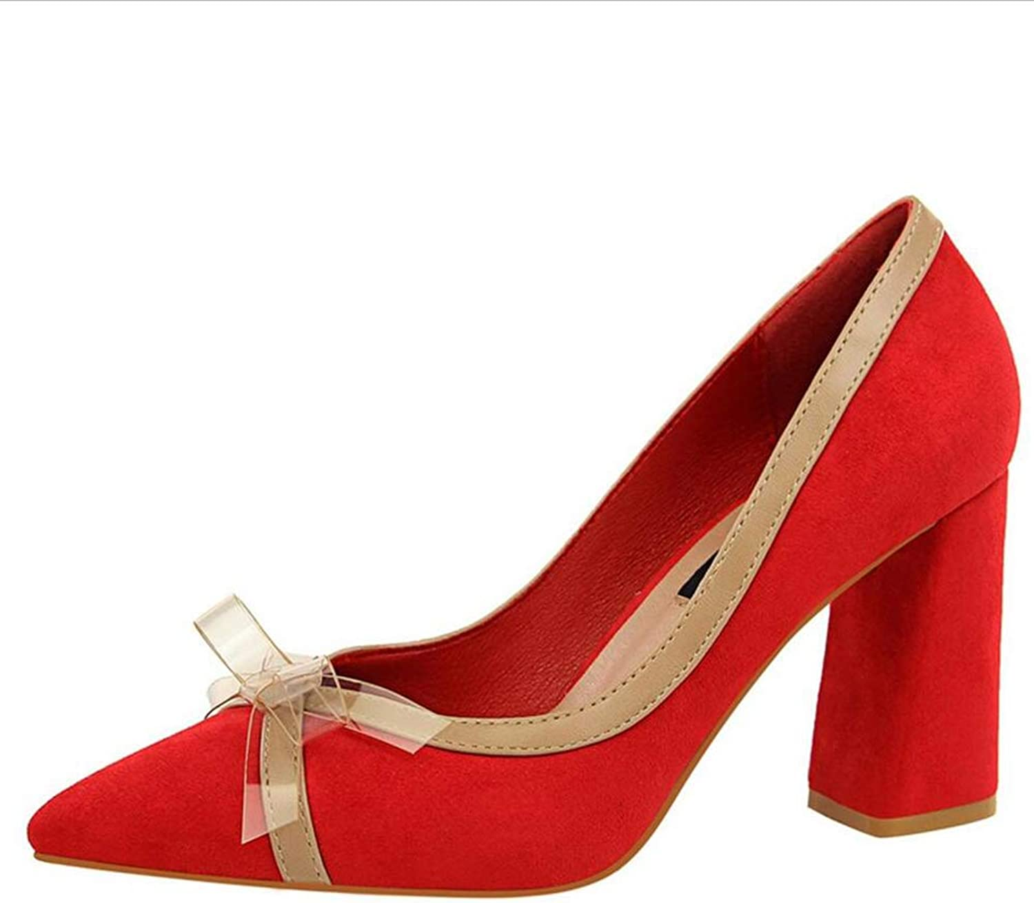 Court shoes Women's shoes shoes High Heel Suede Shallow Mouth Thick Heel Pointed Mixed colors Transparent Butterfly Knot shoes Haiming (color   Red, Size   6 US)
